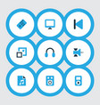 multimedia icons colored set with amplifier vector image vector image