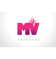 mv m v letter logo with pink purple color and vector image vector image