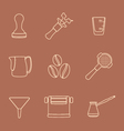 outline coffee barista instruments icons set vector image vector image