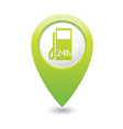 petrol station 24h GREEN map pointer vector image vector image