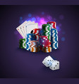 poker stack of poker chips vector image