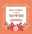 save the date flowers frame decoration vintage vector image vector image