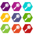 school loupe icons set 9 vector image vector image