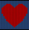 seamless knit pattern with red heart vector image vector image