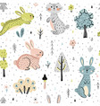 seamless pattern with bunnies in the forest vector image