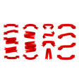 silk red ribbons set decorative design element vector image