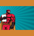 superhero holding book background vector image vector image