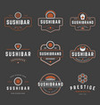 sushi shop logos templates set objects and vector image vector image
