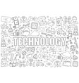 technology from line icon with word vector image vector image