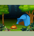 tents with bonfire on dark night forest background vector image vector image