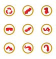 Various arrows icons set cartoon style