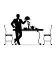 waiter silhouette with food vector image vector image