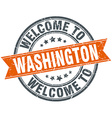 welcome to Washington orange round ribbon stamp vector image vector image