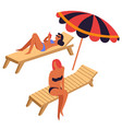 women sunbathing on recliners or deck chairs under vector image vector image