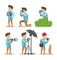 photographer cartoon character set vector image