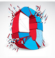 abstract 3d faceted zero number with connected vector image