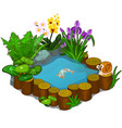 beautiful pond with snail fish and flowers vector image vector image