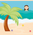 beautiful woman with swimsuit swiming on beach vector image