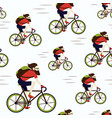 bike delivery messenger hipster seamless pattern vector image vector image