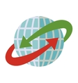 blue sphere world with red and green arrow around vector image vector image