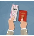 Boarding Pass and Passport in hands vector image