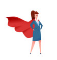 business woman red cape super hero vector image vector image