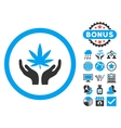 Cannabis Care Hands Flat Icon with Bonus vector image vector image