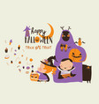 cartoon happy children trick or treating in vector image