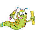 Cartoon inch worm holding a pencil and ruler vector image vector image