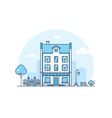 city building - modern thin line design style vector image vector image