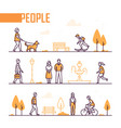 city life - set line design style elements vector image