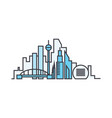 city skyline line icon concept city skyline flat vector image