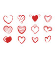 collection 12 hearts hand drawn icons set vector image