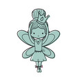 color girl dancing ballet with crown and wings vector image