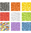 Color seamless patterns of brick walls vector image vector image