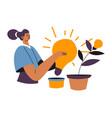 creative business idea woman with light bulb vector image