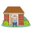 cute grandfather cartoon vector image vector image
