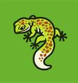 cute green leopard gecko lizard logo vector image vector image