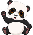 cute little panda waving isolated on white backgro vector image vector image