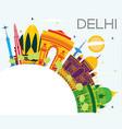 delhi india skyline with color buildings blue sky vector image vector image