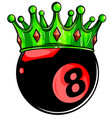 eight ball pool crown design vector image vector image