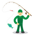 Fisherman on white background vector image vector image