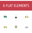 flat icons bicycle airship lorry and other vector image vector image