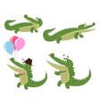 friendly cartoon crocodiles set vector image vector image