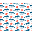 fugu and shells seamless pattern vector image