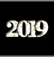 happy new year card white 3d number 2019 golden vector image vector image