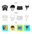 isolated object of equipment and riding logo set vector image vector image