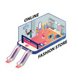 isometric artwork of people shopping online vector image vector image