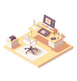 isometric graphic designer workplace vector image