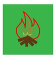 Kindle campfire sign in green square vector image